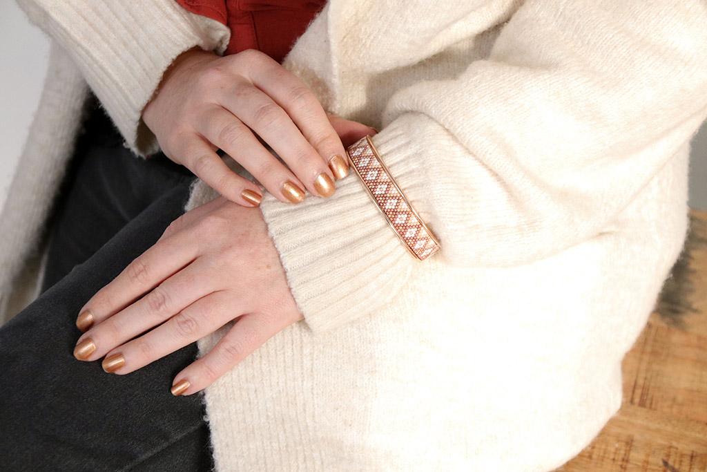 Bracelet jonc Miyuki apprendre le tissage peyote pair
