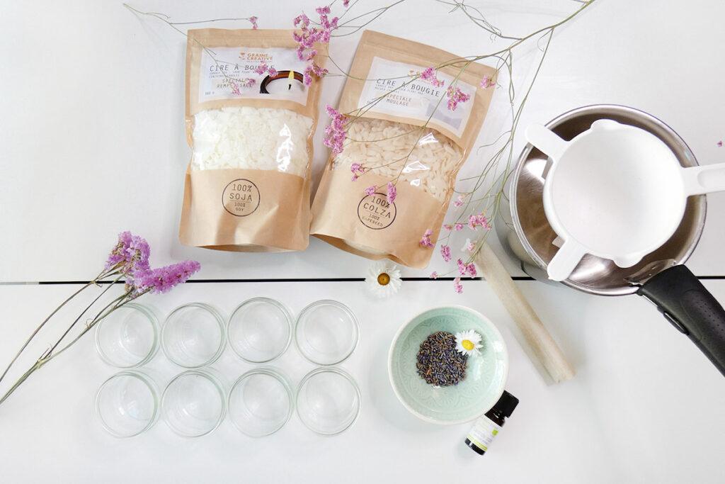 matériel pour faire des bougies à la cire de soja