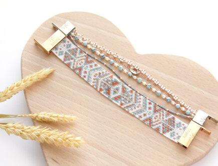 Grille de tissage Bracelet Miyuki bleu pastel