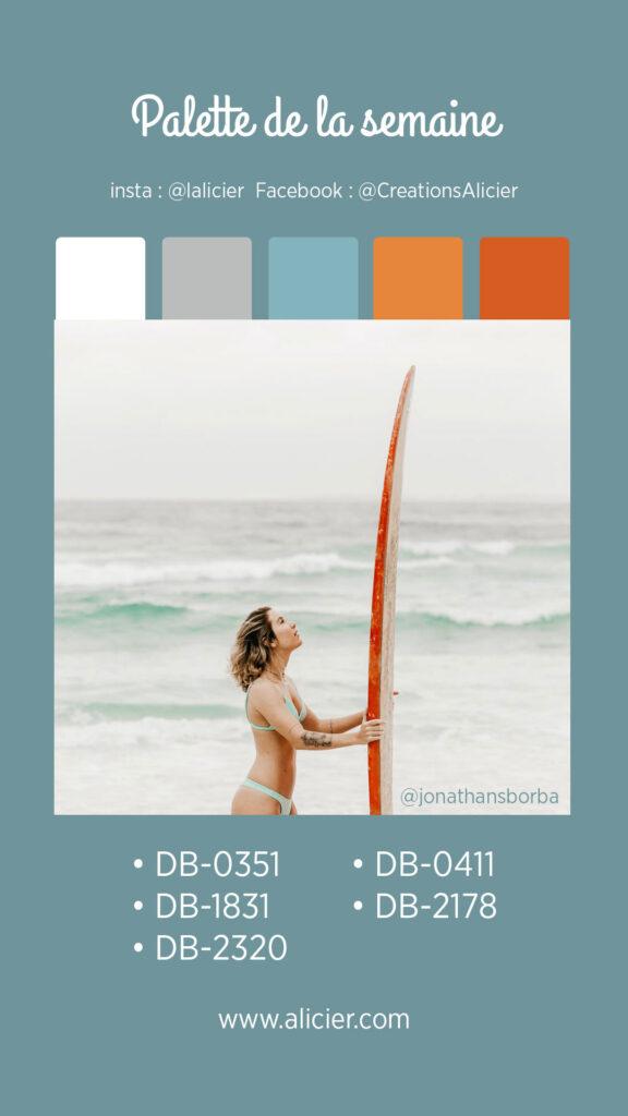 nuancier de couleur miyuki plage bleu et orange