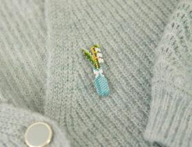pin's muguet en perles miyuki